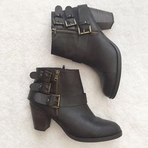 steve madden brown preslee moto buckle ankle boots